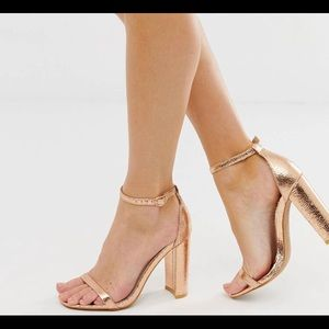 Glamorous Rose Gold Square Toe Block Heeled Sandal